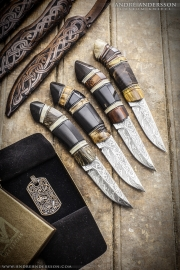 Four Scandinavian hunting knives